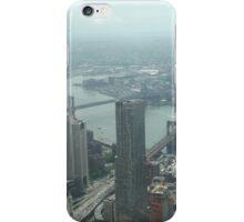 Aerial View of Lower Manhattan, Brooklyn, Manhattan Bridges, View from One World Observatory, World Trade Center Observation Deck iPhone Case/Skin