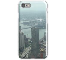 Aerial View of Lower Manhattan, Brooklyn, Manhattan Bridges, View from One World Observatory, World Trade Center Observation Deck iPhone Case/Skin