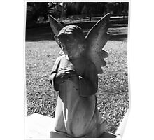 Somber Cemetary Statue Poster