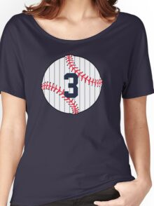 Number 3 Pinstripe Baseball Design Women's Relaxed Fit T-Shirt