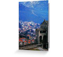 Bellinzona. Castelgrande Castle, Wall with Archways. Ticino, Switzerland 2005 Greeting Card