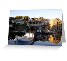 reflections in an historic harbour Greeting Card