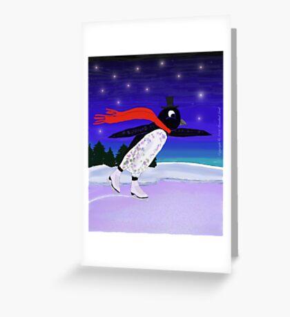Skating Penguin Greeting Card