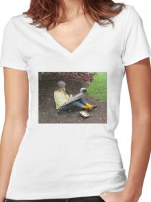 Sketching Under The Red Maple (Close-up) Women's Fitted V-Neck T-Shirt