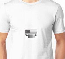 Jeep Wrangler American Flag B&W Unisex T-Shirt