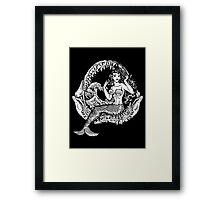 Mermaid and Shark Jaws Framed Print