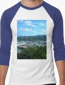 a desolate Saint Kitts and Nevis landscape Men's Baseball ¾ T-Shirt