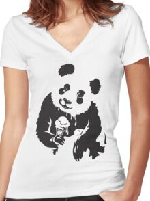 Pandas like Ice Cream Too. Women's Fitted V-Neck T-Shirt