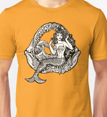 Mermaid and Shark Jaws Unisex T-Shirt