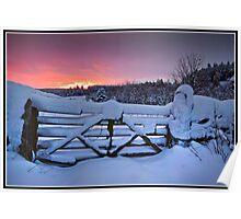 Snowy sunrise over Settle Poster