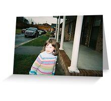 girl outside of grandmas Greeting Card