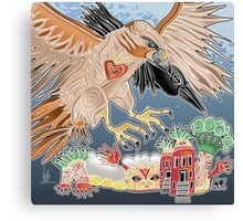 lady hawk and crow Canvas Print