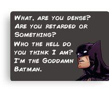 Goddamn Batman, White Lettering version Canvas Print
