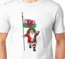 Santa Claus With Flag Of Wales Unisex T-Shirt