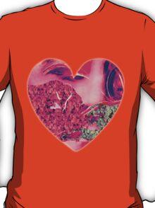 Pink Flower & Moss Heart T-Shirt