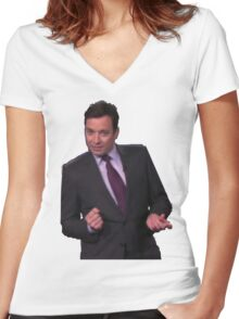 Jimmy Fallon Dancing Women's Fitted V-Neck T-Shirt
