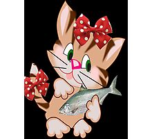 Kitty with Fish T shirt  , Tote bag and pillow (2833 Views) Photographic Print
