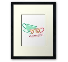 Mad Tea Party Teacups - Pink & Green Framed Print