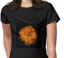closeup of orange camellia flower on black background Womens Fitted T-Shirt
