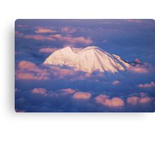 Sunset on Rainier from 33,000 feet Canvas Print