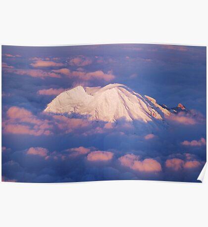 Sunset on Rainier from 33,000 feet Poster
