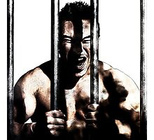 Drawing style of a man behind bars in prison style Photographic Print