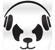 Panda With Headphones Poster