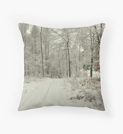 A Woodland Path in Winter Throw Pillow