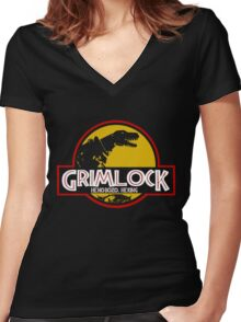 Grimlock (Jurassic Park) Women's Fitted V-Neck T-Shirt