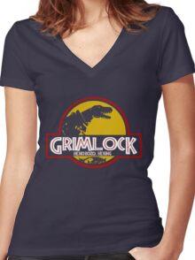 Grimlock (Jurassic Park) Women's Fitted V-Neck T-Shirt