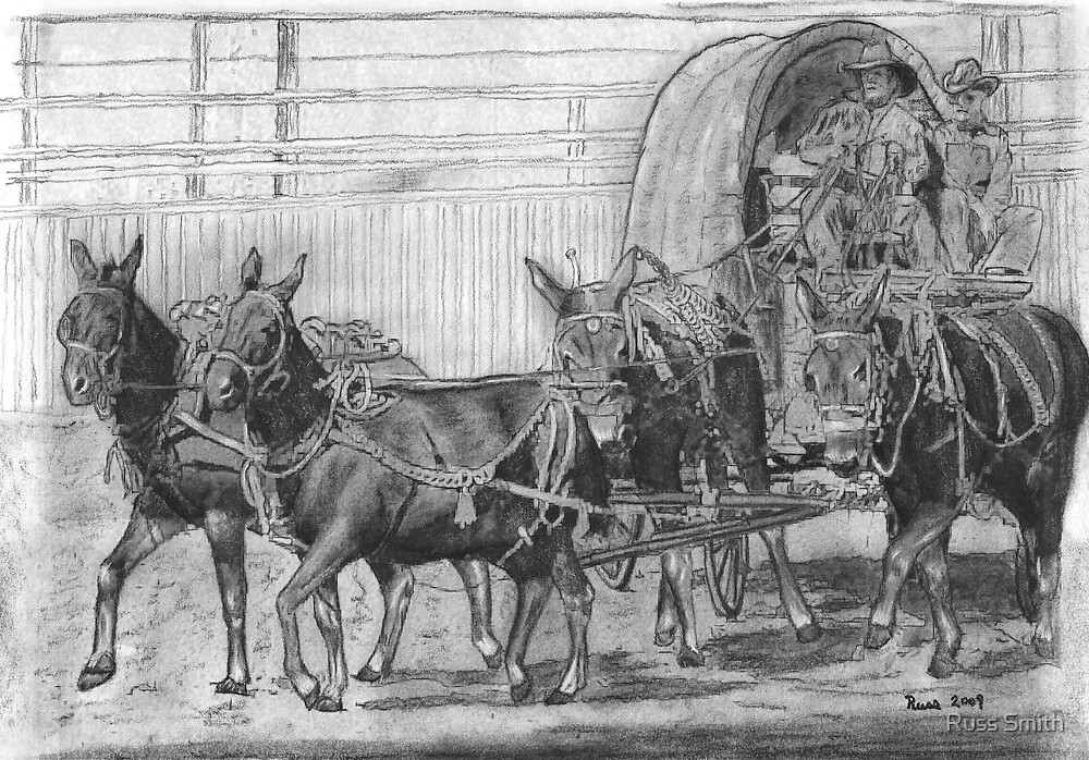 Mule Train at the Rodeo by Russ Smith