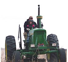 driven on the big green tractor Photographic Print