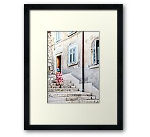 Flowers on the Stairs Framed Print