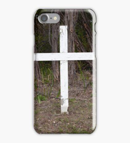 White cross in old graveyard iPhone Case/Skin