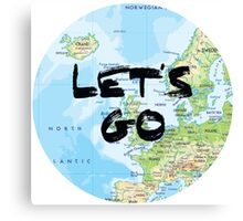 Let's Go! Rounded Europe Map Canvas Print