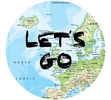Let's Go! Rounded Europe Map Photographic Print