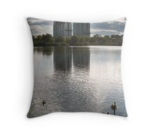 Buildings in construction close to the Ontario lake Throw Pillow