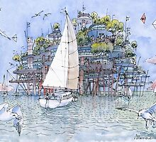La citta' sul mare by Luca Massone  disegni