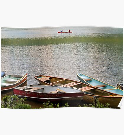 Canoeing on the Maligne Lake , Jasper National Park , Canada Poster