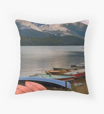 Canoes on the Maligne Lake , Jasper National Park , Canada Throw Pillow