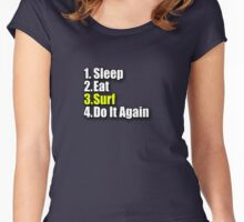 Surf T-Shirt - Surfing Clothing Sticker Bag Sleep Eat Do It Again Women's Fitted Scoop T-Shirt