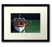 Boat on Green Water Framed Print