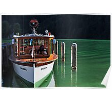 Boat on Green Water Poster