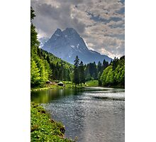 Lake Riessersee and Mount Alpspitz. Germany. Photographic Print