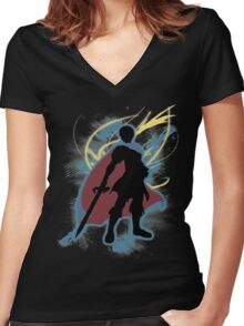 Super Smash Bros. Marth Silhouette Women's Fitted V-Neck T-Shirt