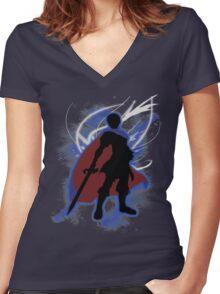 Super Smash Bros. Blue Marth Silhouette Women's Fitted V-Neck T-Shirt