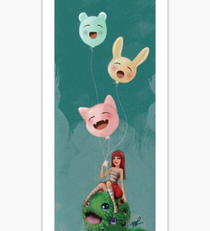 Girl 29 | Girl and her imaginary pet grass monster Sticker