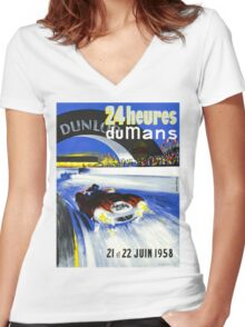 24 Hours of LeMans - 1958 Poster Art Women's Fitted V-Neck T-Shirt