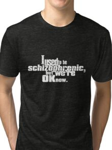 I used to be schizophrenic, but we're ok now. Tri-blend T-Shirt
