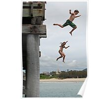 Jetty Jumping, Christmas Day in Australia Poster